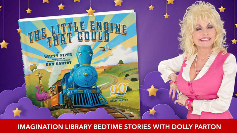 promo image for Goodnight with Dolly showing Dolly parton next to a children's storybook