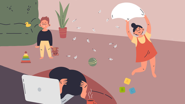 illustration of mom looking frustrated while kids run around the house