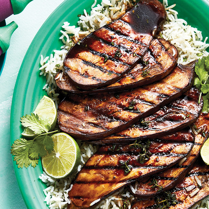 Grilled eggplant on coconut rice
