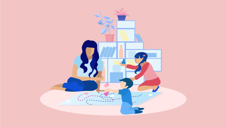 Illustration of mom playing with kids, wondering