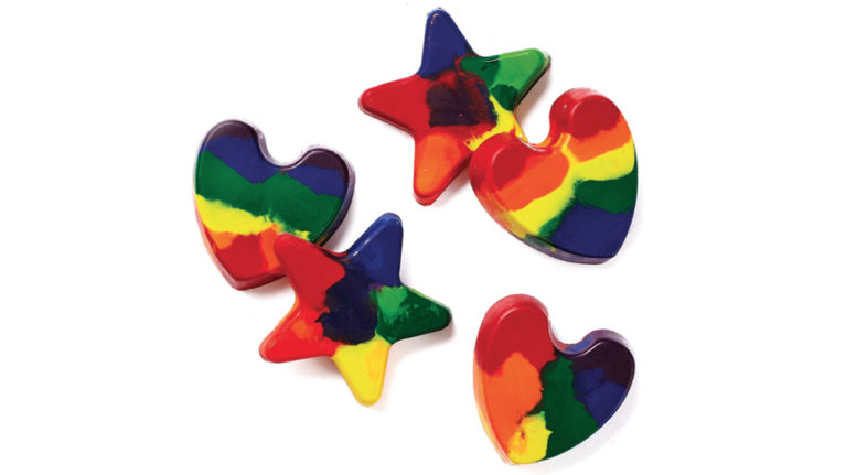 rainbow crayons in the shape of hearts and stars