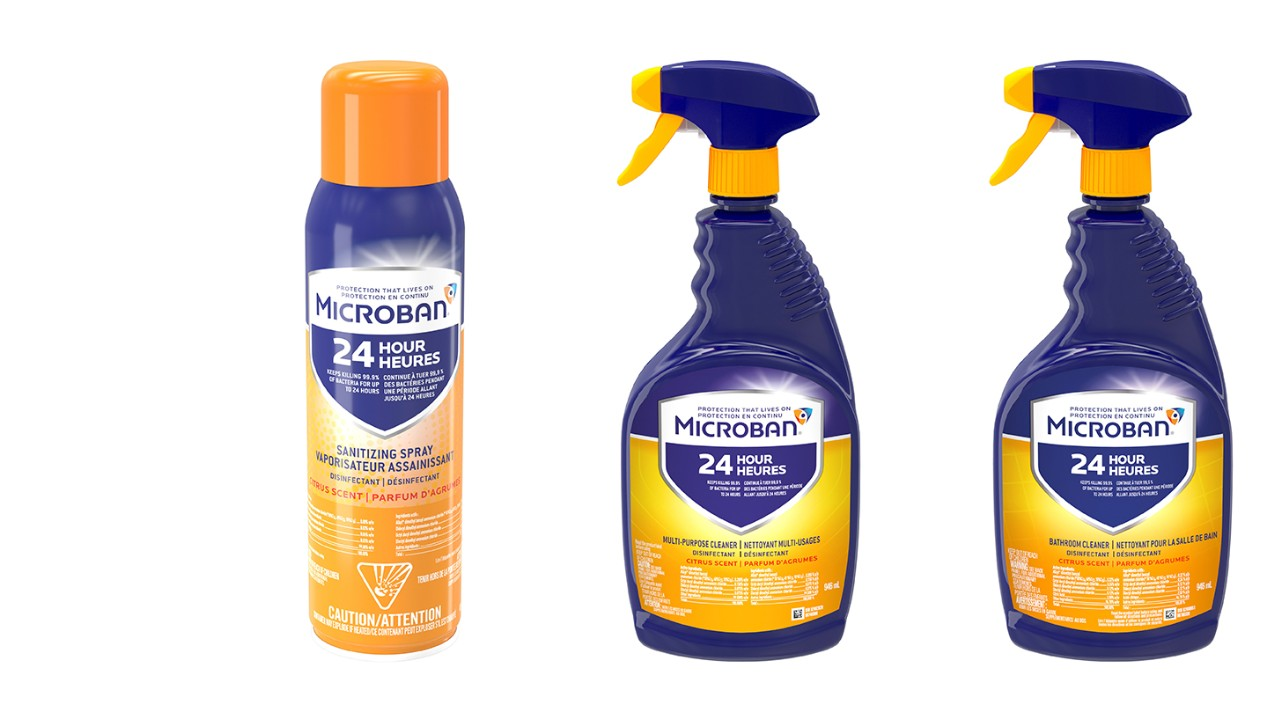 Microban 24 Multi-Purpose Cleaner, Sanitizing Spray and Bathroom Cleaner