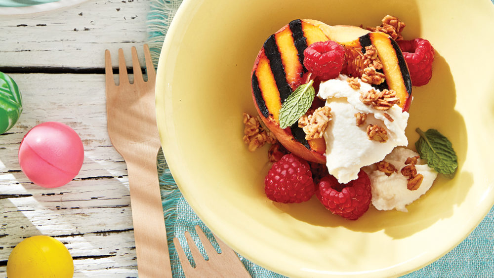 bowl with grilled peaches granola and marscapone