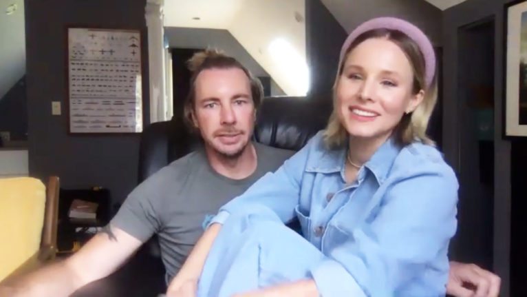 Kristen Bell and Dax Shepard on a Zoom call