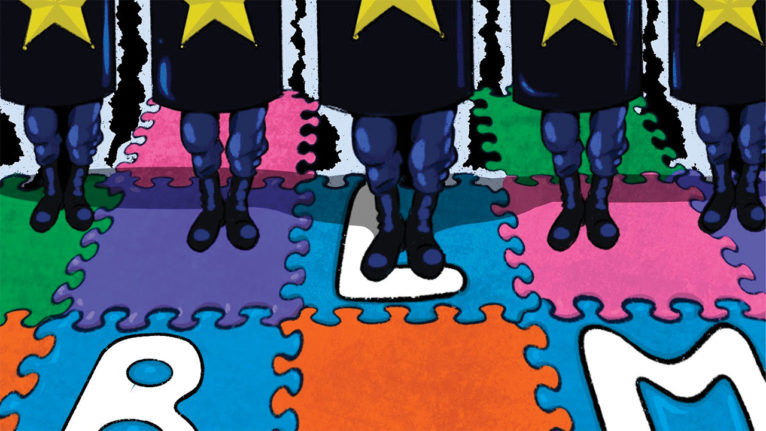 Illustration of cops in riot gear standing on a kids playmat that has the letters BLM for Black Lives Matter