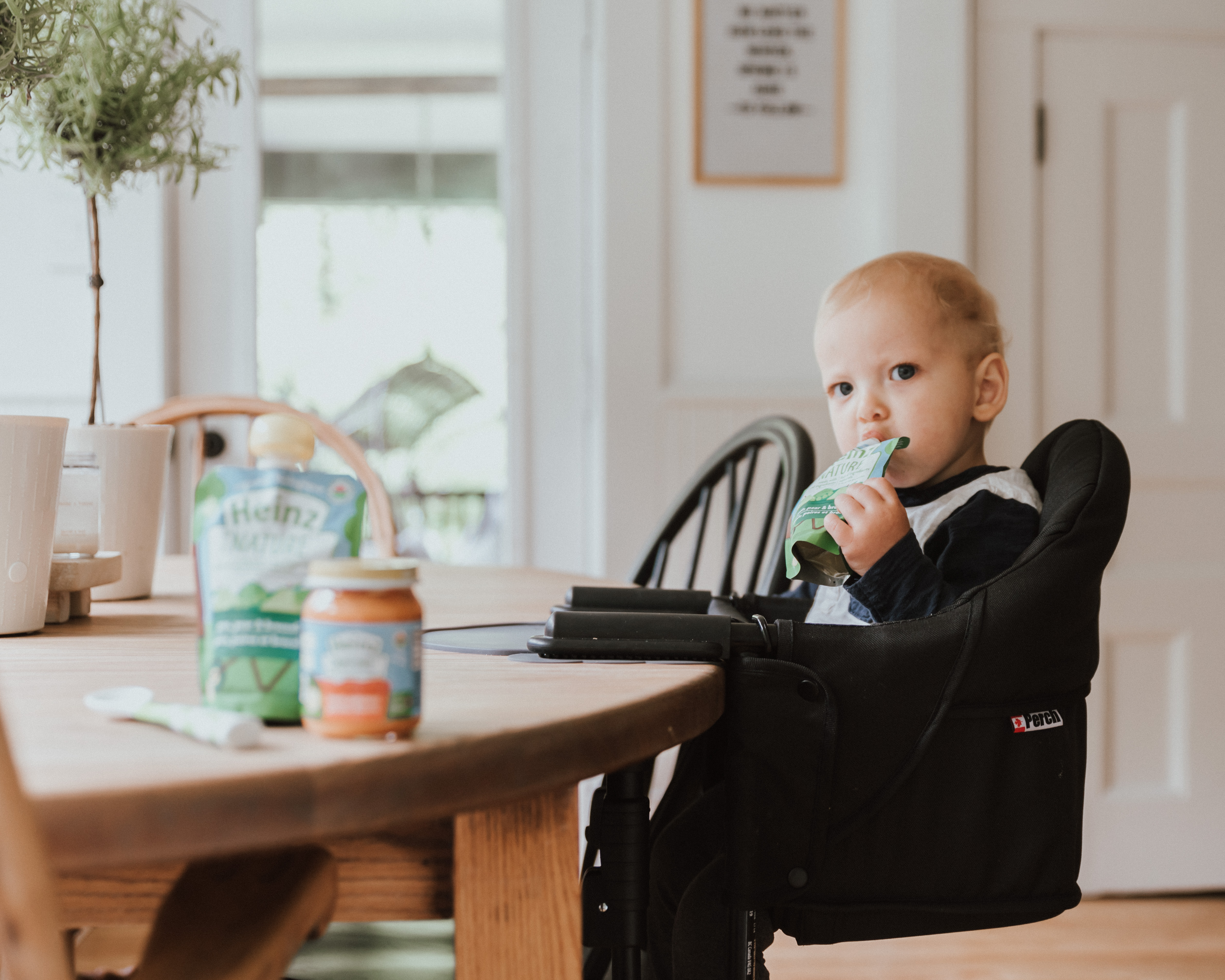 Baby in high-chair eating food from pouch