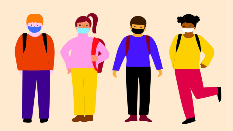 illustration of children wearing masks and going to school