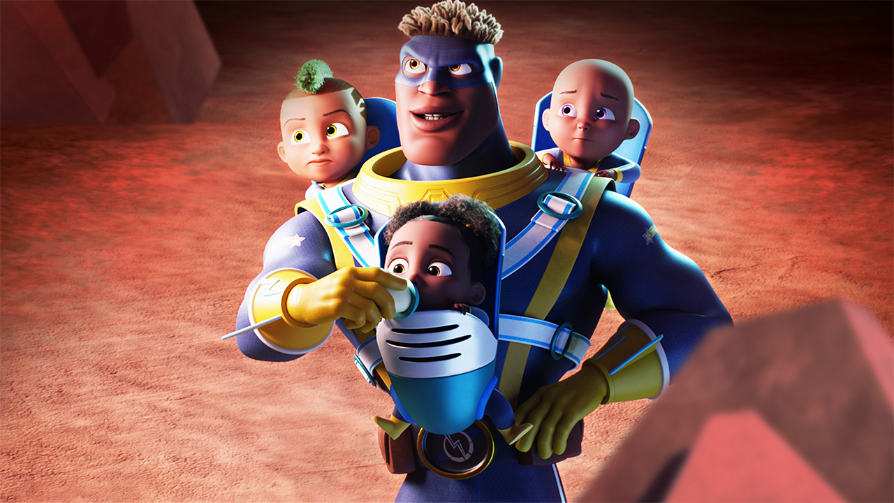 an animated super hero carrying three babies in a triple baby carrier