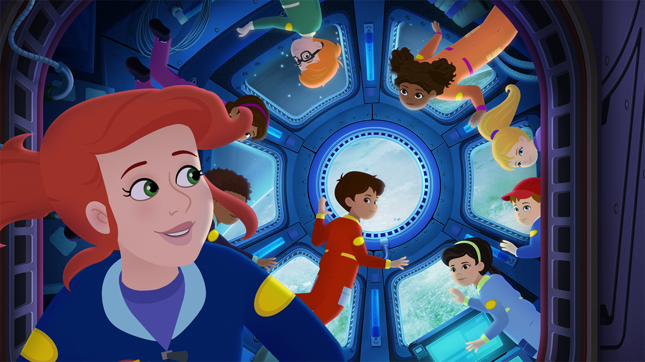 Ms. Frizzle and her students in a space station
