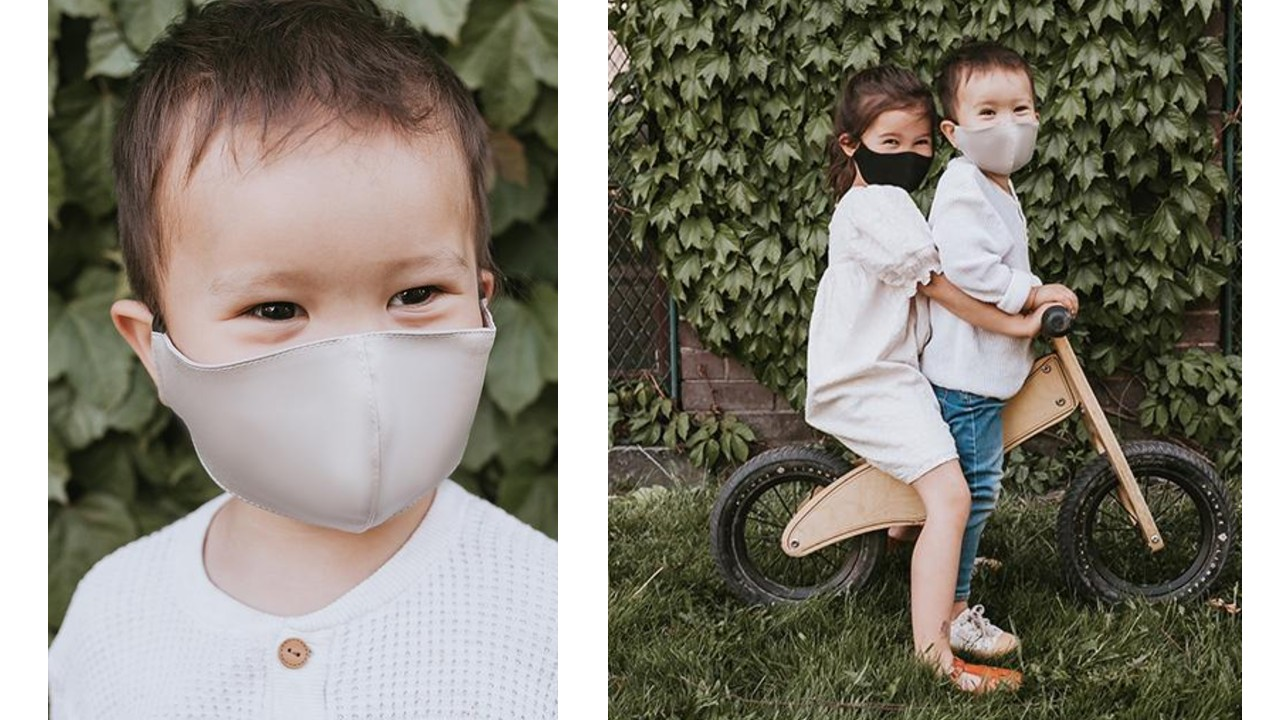 kids wearing face mask in lifestyle shots