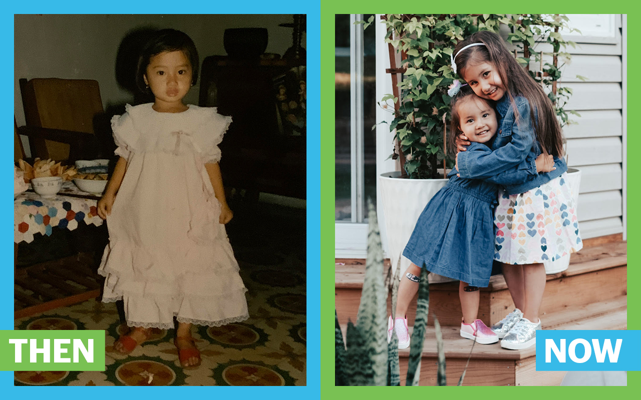 Then and now photo of Thanh in her childhood, next to her son