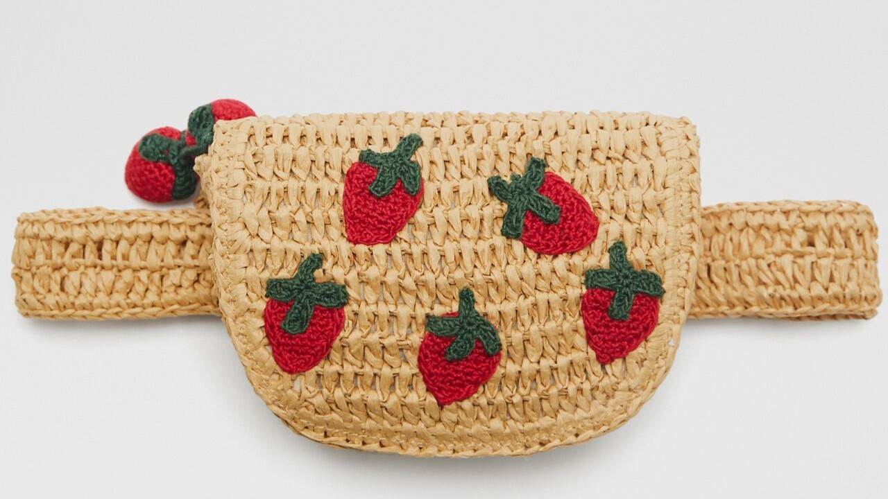 rattan kids waist pack with embroidered strawberries