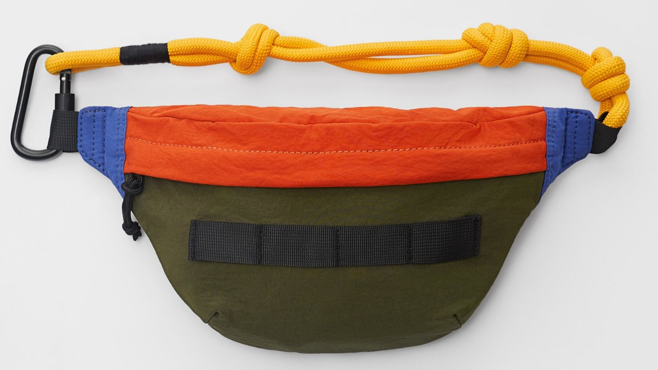 multi-coloured kids waist pack with rope fastener