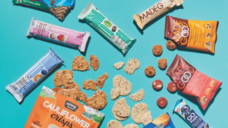packaged snacks on teal background