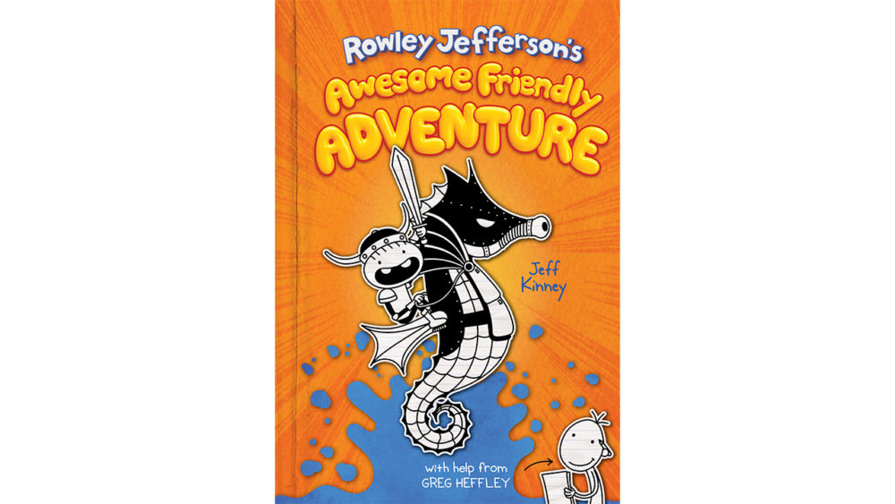 cover of Rowley Jefferson\'s Awesome Friendly Adventure showing an illustrated kid dressed as a viking riding on an armoured seahorse