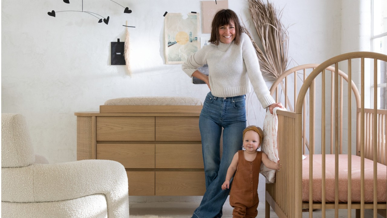 Leanne Ford and baby in stylized nursery