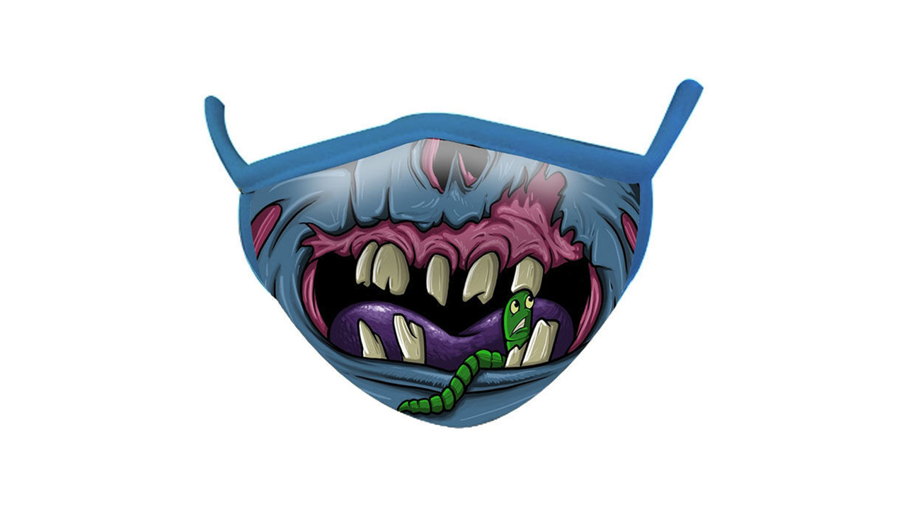a blue face mask with teeth to look like a zombie
