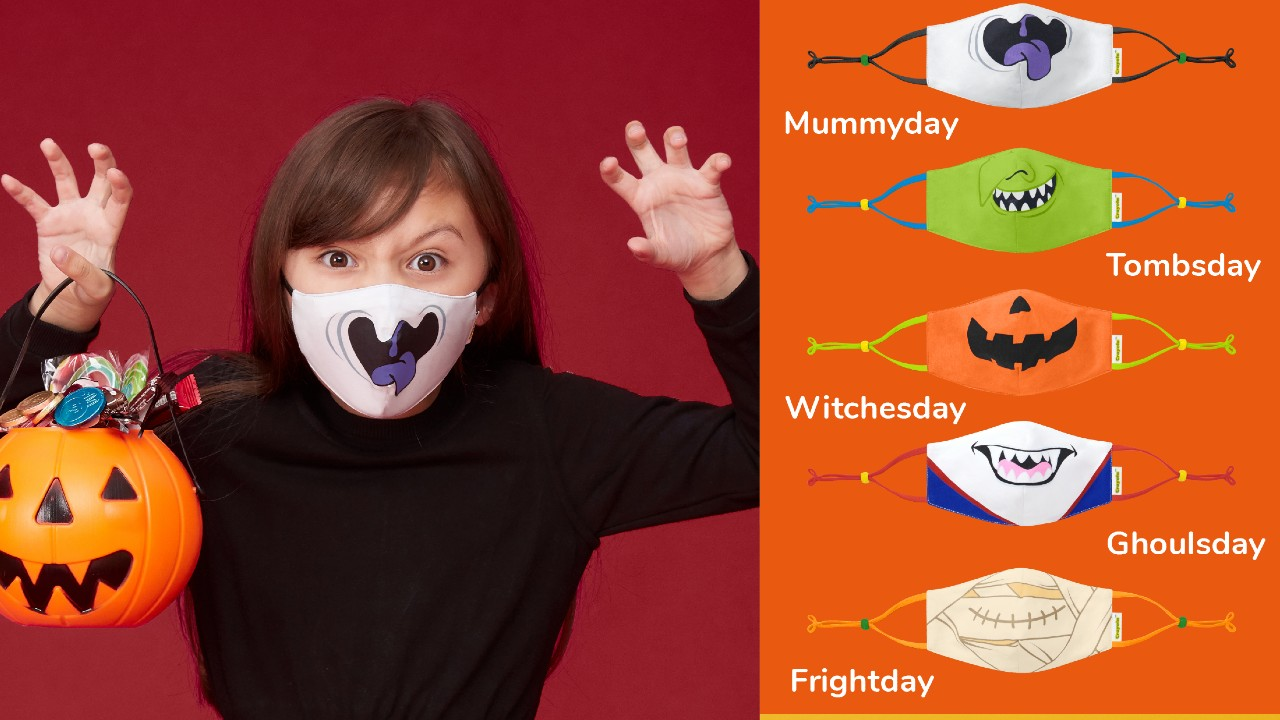 ghost, goblin, pumpkin, witch and mummy Halloween-themed face masks