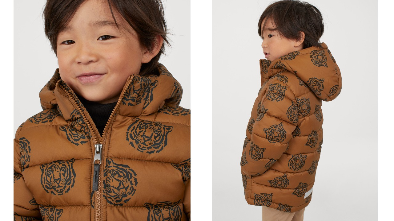 kids puffer jacket with tiger print