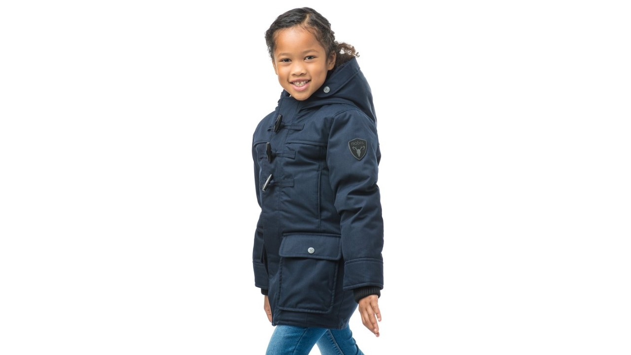 young girl in trendy parka