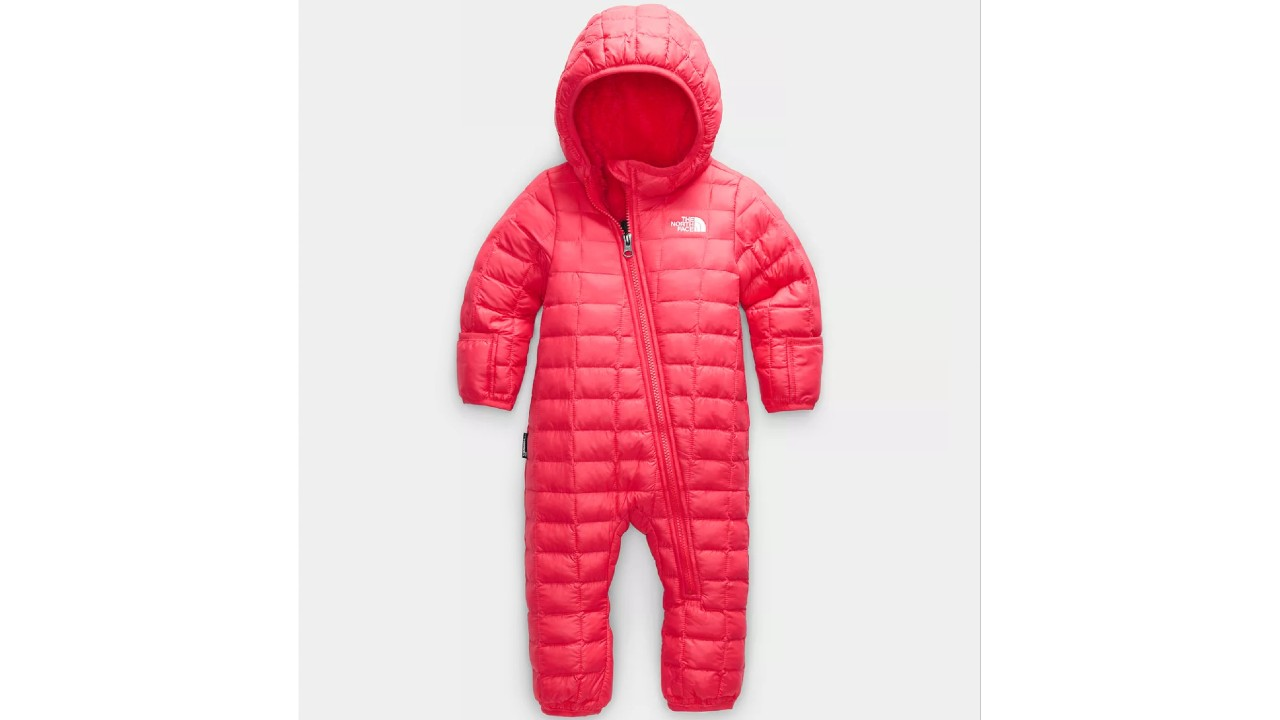 pink one-piece baby snowsuit