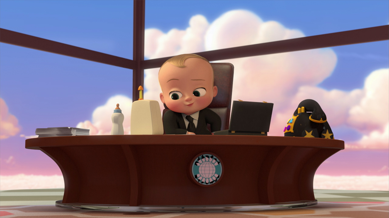image of an anitmate baby in a business suit sitting in a penthouse office