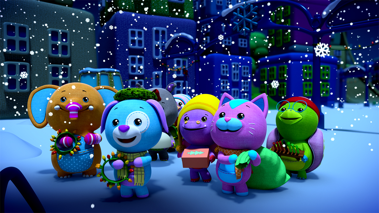 image of animated animals standing outside on a snowy winter evening holding holiday decorations