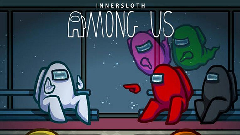 promo image for Among Us game showing a crewmate in red pointing at another crewmate in white while ghosts of dead crewmates point at the crewmate in red