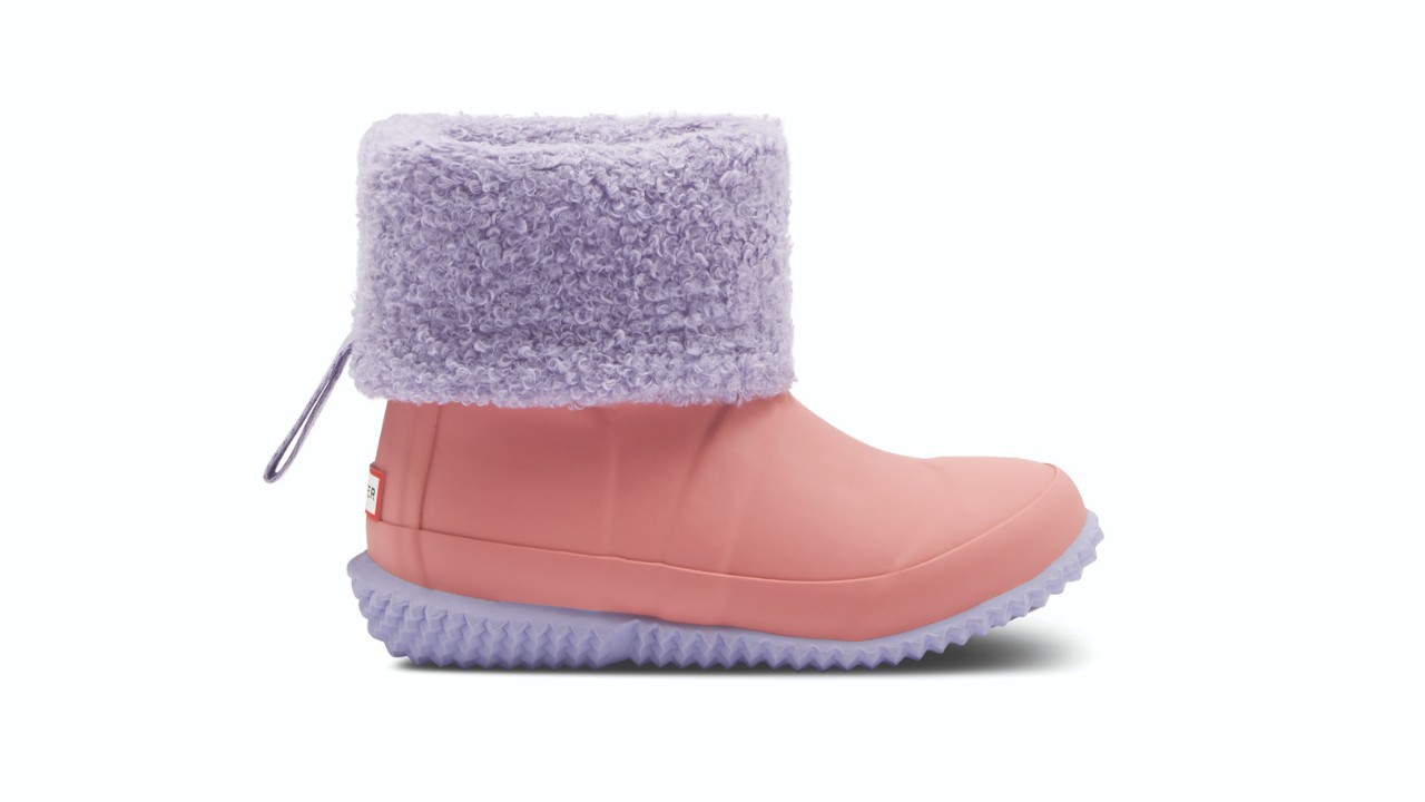 pink winter boot with purple sole and roll top
