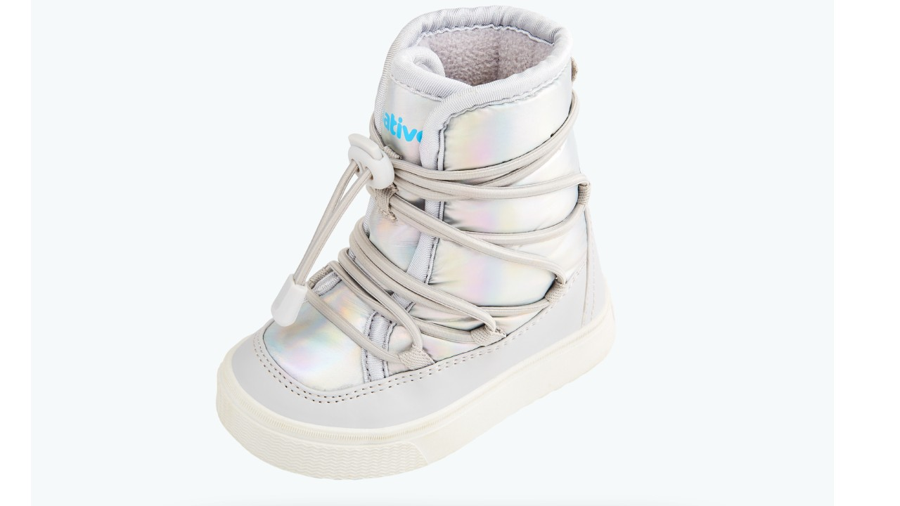winter boots with hologram print