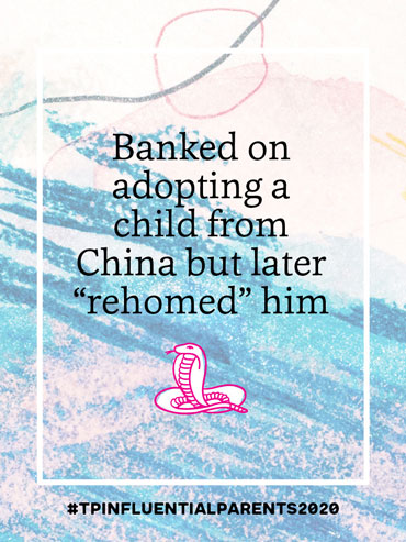 Banked on adopting a child from China but later 'rehomed' him