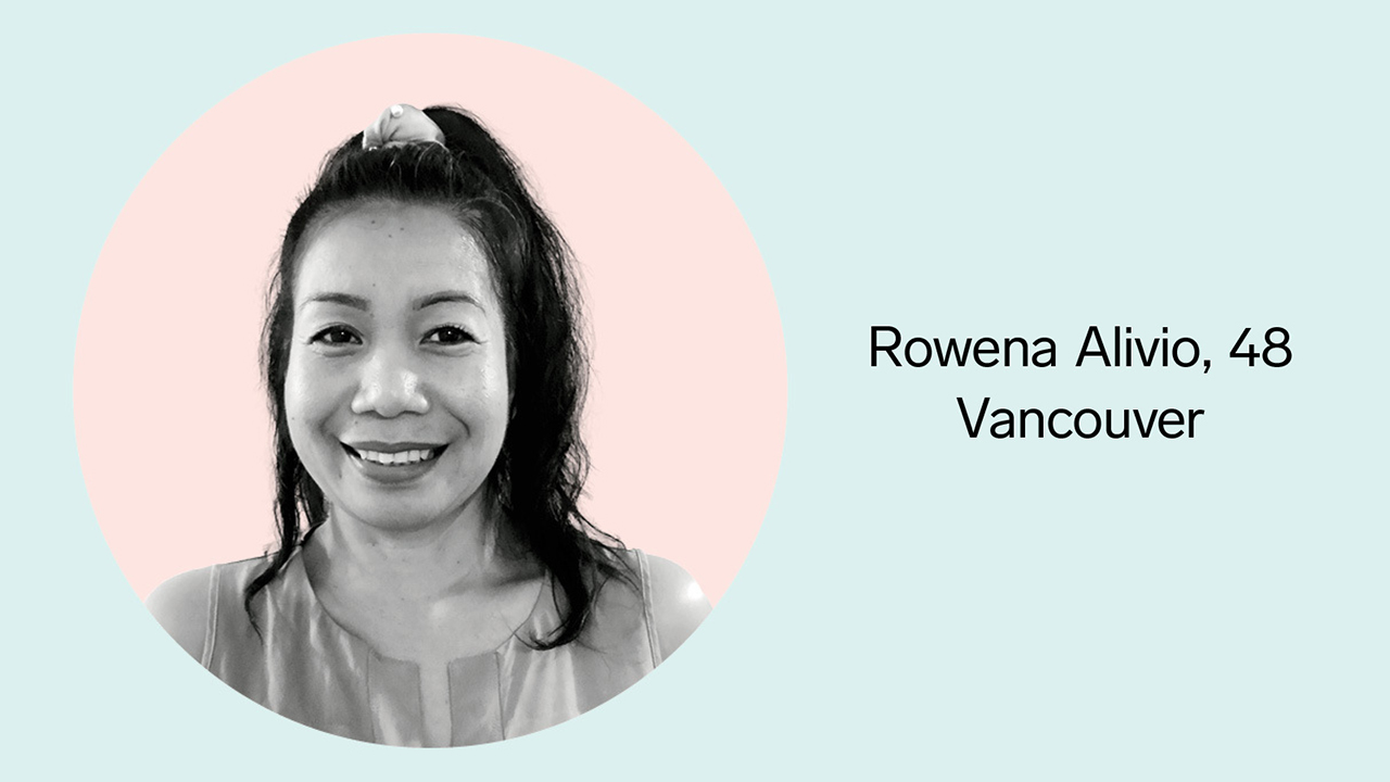"""Greyscale photo of a woman smiling placed inside a pink circle with a blue background. Text next to the picture reads """"Rowena Alivio, 48 Vancouver"""""""