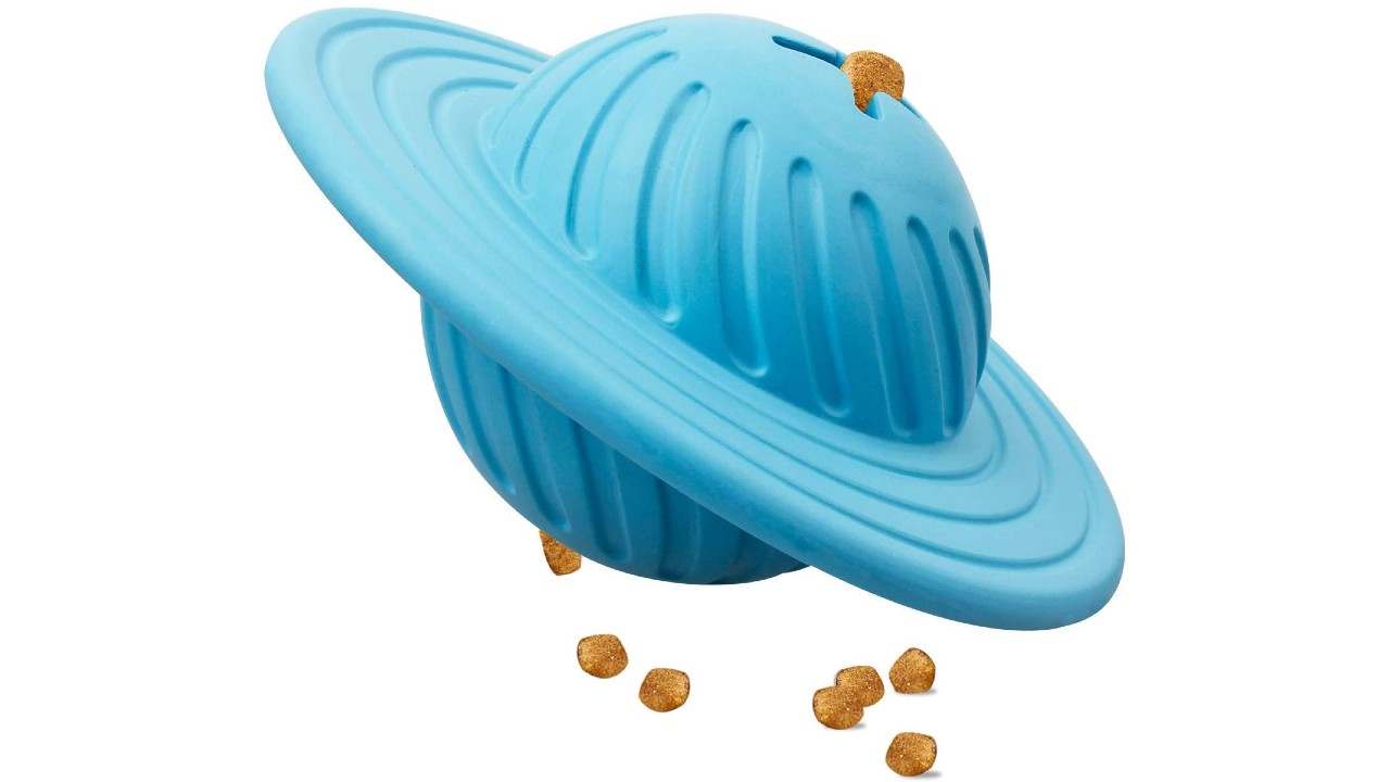 planet-shaped dog treat dispenser toy