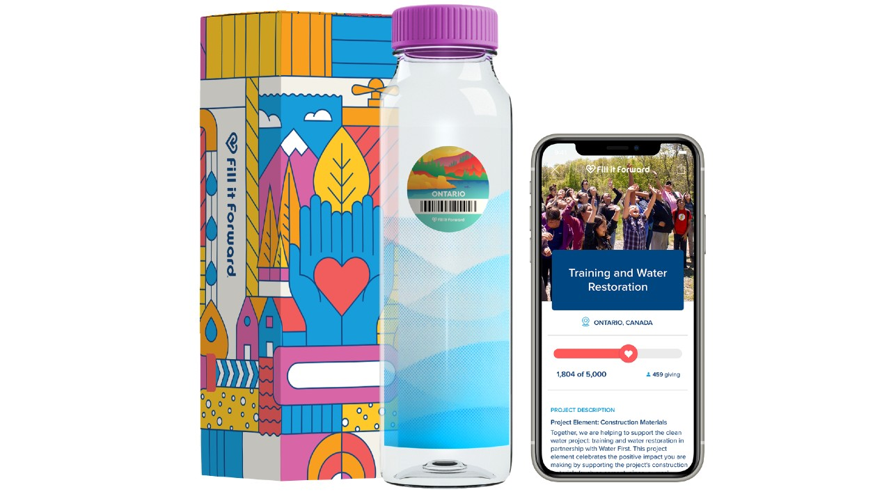 box, bottle and phone with app showing charity