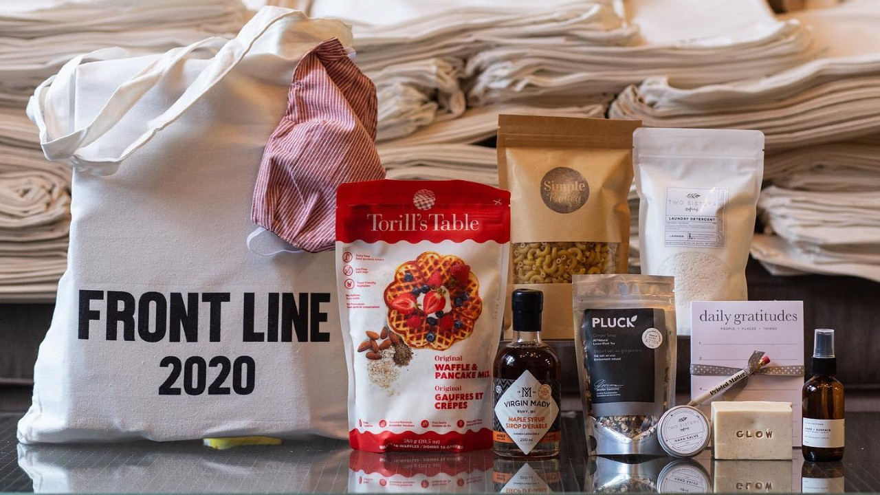 tote with goodies for frontline workers
