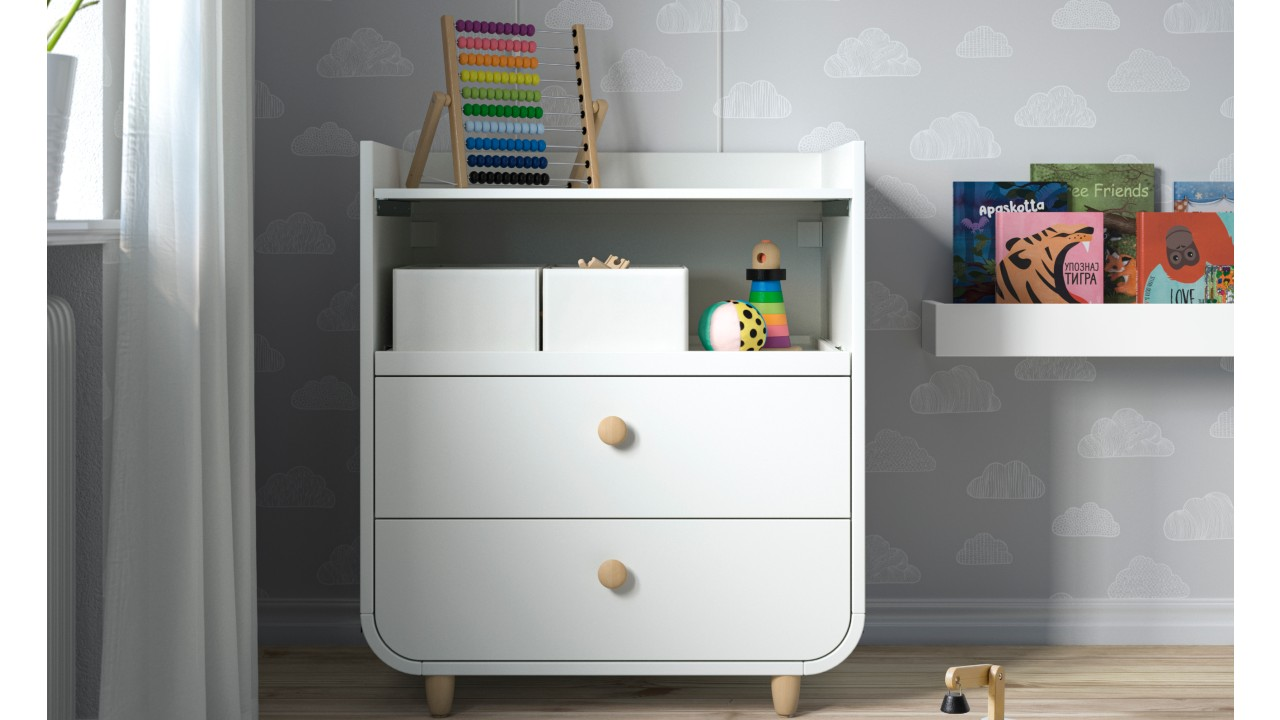 change table that transforms into dresser and shelving