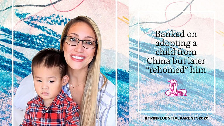 Myka Stauffer smiles with her adopted son on her lap beside the text 'banked on adopting a child from china but later 'rehomed' him'