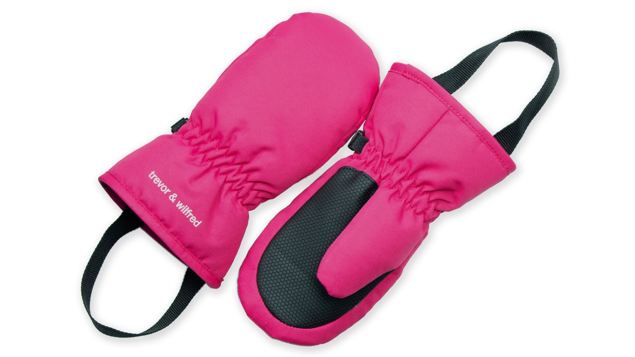 hot pink mittens with pull-on loops