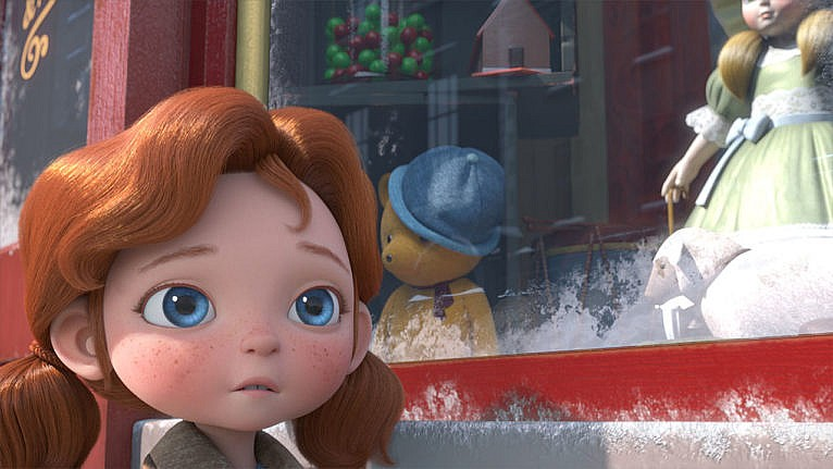 A still from Angela's Christmas Wish showing an animated kid looking down the street while standing in front of a toy store window display