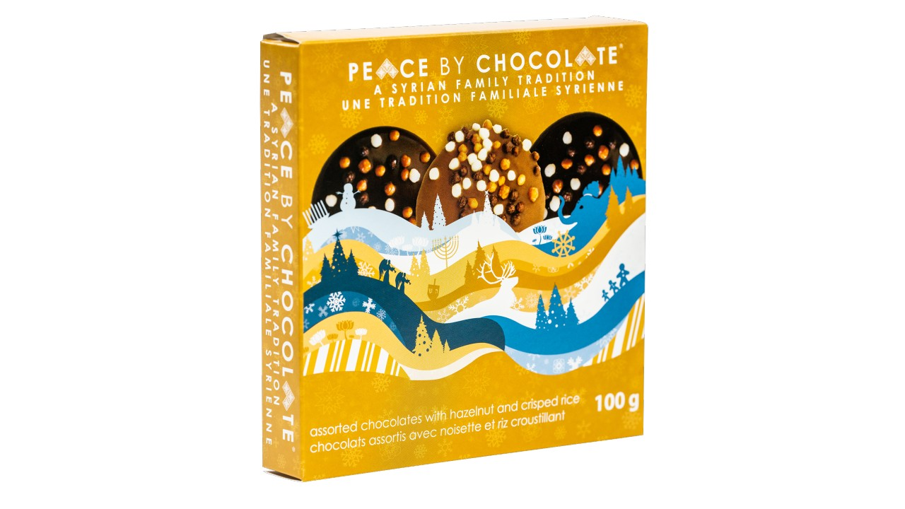 box of holiday-themed chocolate