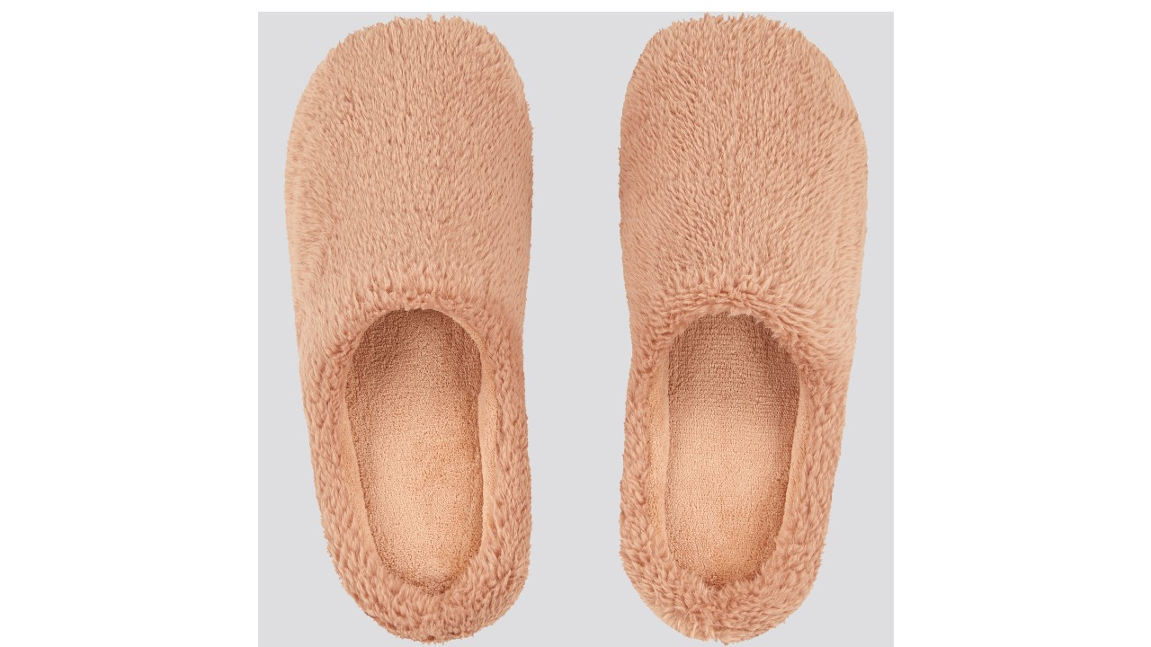 fluffy peach coloured slippers
