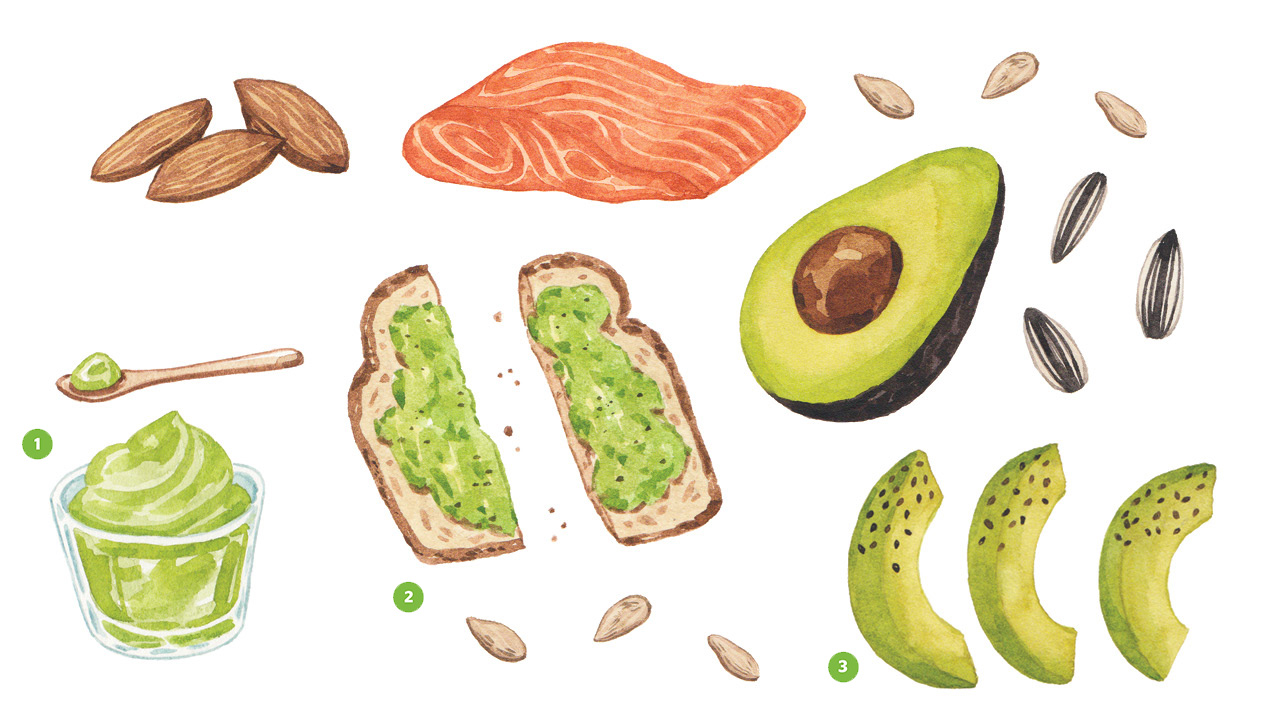 Realistic illustrations of almonds, salmon, avocado, sunflower seeds, avocado puree, avocado toast and avocado spears all containing healthy fats