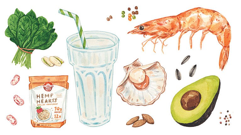 realistic illustrations of different foods with important vitamins and minerals