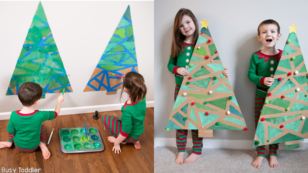 Two photos edited next to each other. The photo on the left shows two kids in holiday pajamas painting christmas trees on the wall and the photo on the right shows them showing off their completed craft