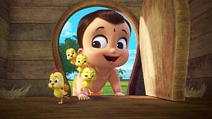 A still from the anitmated show Mighty Little Bheem showing a baby crawling into a chicken coop with four baby chicks