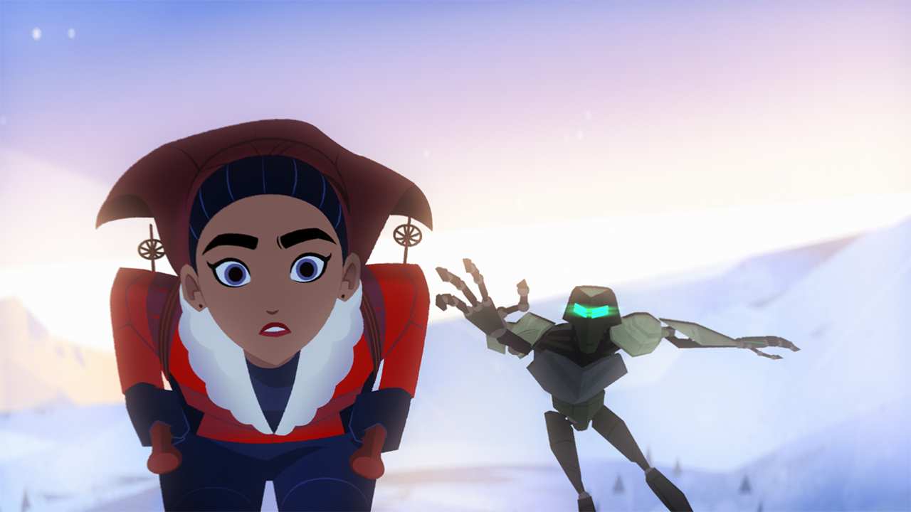A still from the animated show Carmen Sandiego showing a person skiing down a hill while being chased by a robot who is reaching out to grab them