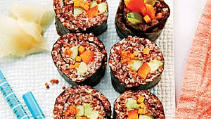 sushi rolls made with tri-coloured quinoa