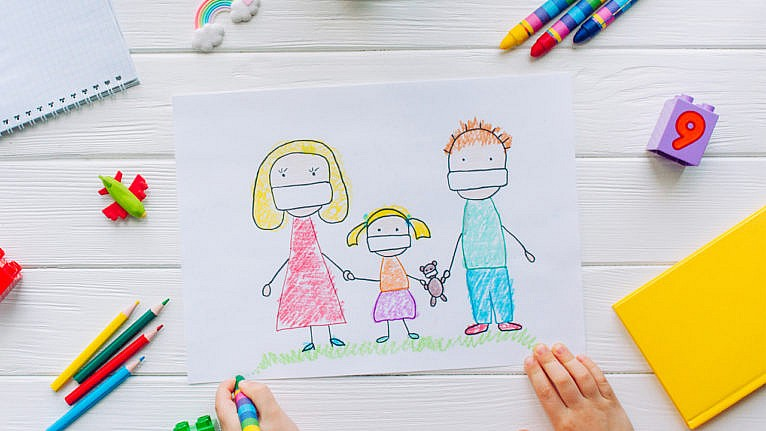 a drawing of a family holding hands wearing masks for a story on helping kids to use art to express feelings about the pandemic