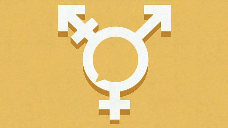 Illustration of the transgender symbol with a speech bubble in the middle of the circle