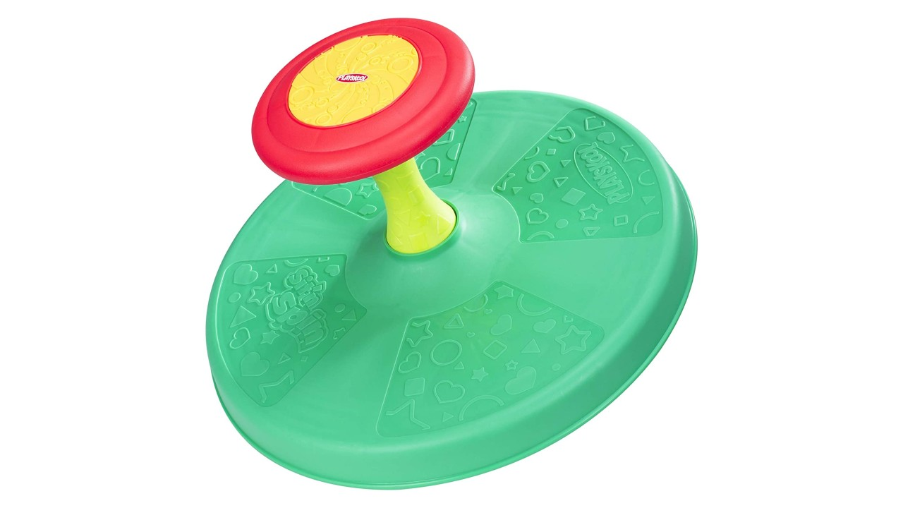 green spinning toy for toddlers